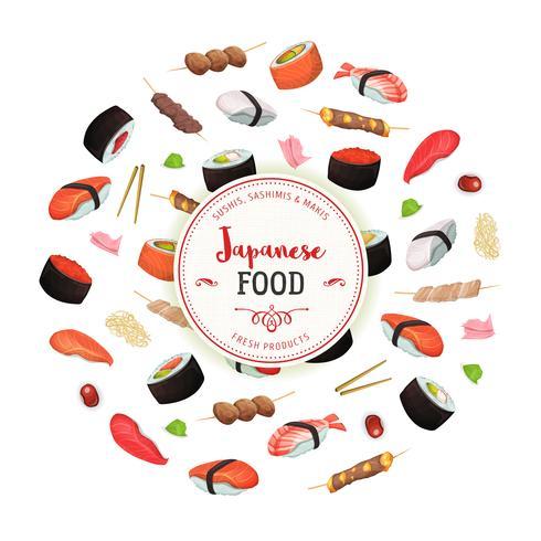 Gezonde Japanse voedselachtergrond vector