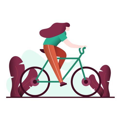 Jonge vrouw fiets vectorillustratie vector