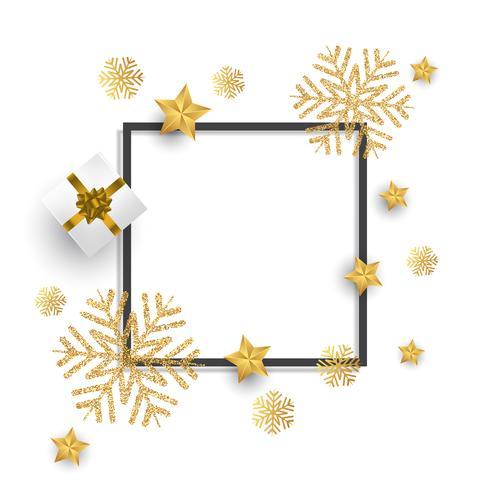 Kerstmis achtergrond met glitter sneeuwvlokken, cadeau en sterren vector