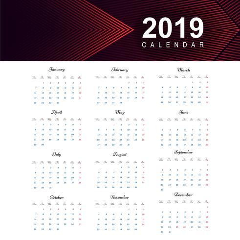 Kalender 2019 Sjabloonontwerp vector