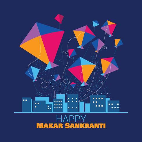 Gelukkig Makar Sankranti religieus festival van India vector
