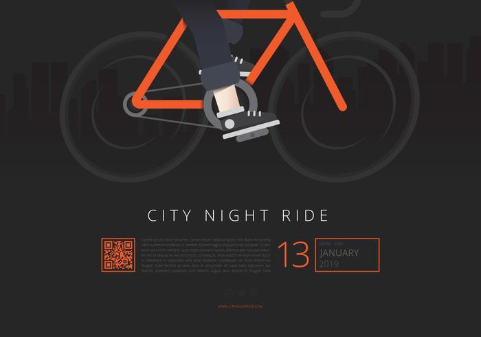 Gezondheid Lifestyle Flyer. City Night Ride. Fietser evenement. vector