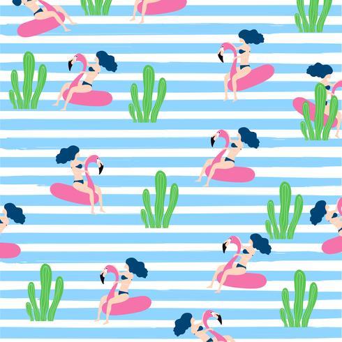 Ontwerp van het de zomer het naadloze patroon met vrouw op drijvende flamingo rubberring vector