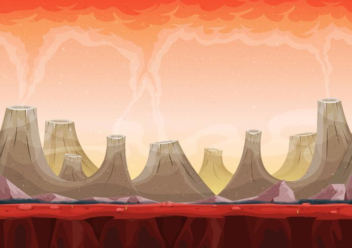 Seamless Volcano Planet Landscape voor Ui Game vector