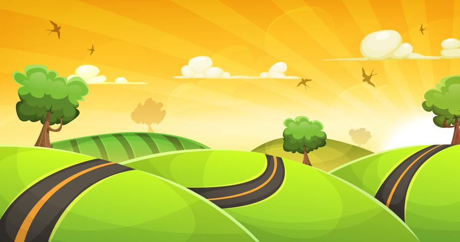 Cartoon landschap met weg en stralende zon vector