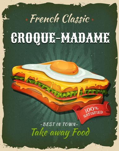 Retro poster van de snel voedsel Franse sandwich vector