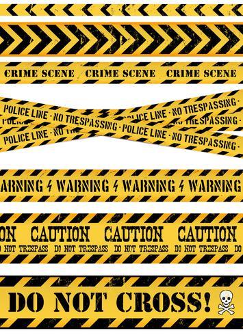 Politie lijn, misdaadscène en waarschuwingstapes vector