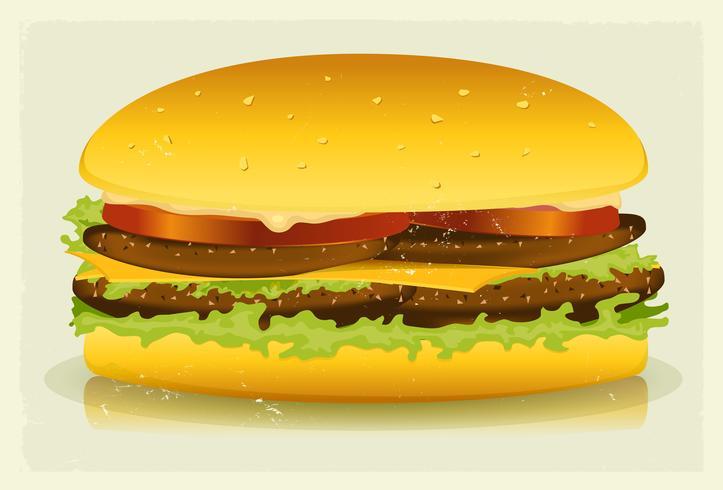 Grunge getextureerde lange Burger Poster vector