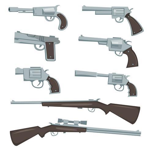 cartoon geweren, revolver en geweren ingesteld vector