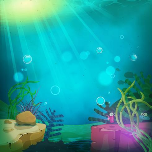 Grappig onderzeeër oceaanlandschap vector