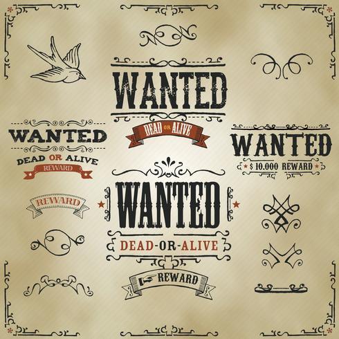 Wilde Vintage Western-banners vector