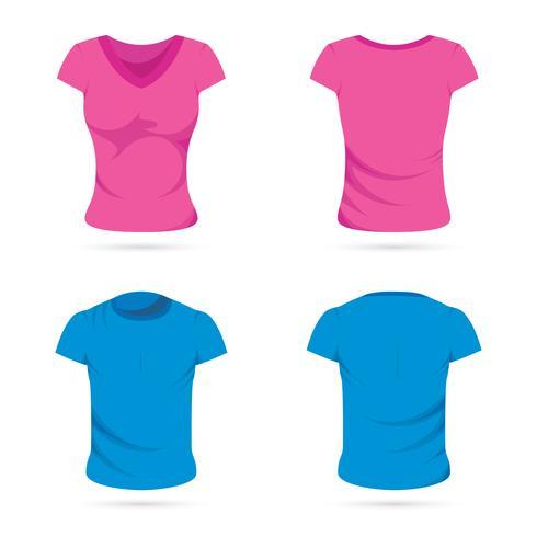 Mannelijke en vrouwelijke T-shirts vector