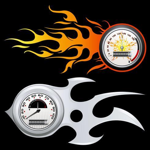 Vurige snelheidsmeter vector