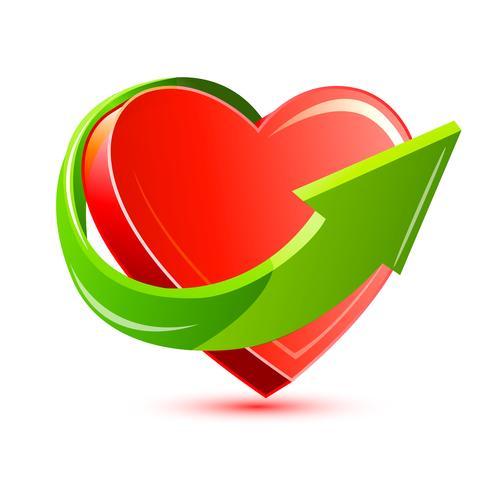Pijl rond hart vector