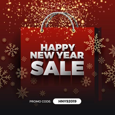 Gelukkig Nieuwjaar verkoop promotie achtergrondontwerp met gouden deel vector