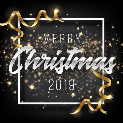 Prettige kerstdagen en gelukkig Nieuwjaar 2019 wenskaart achtergrond vector