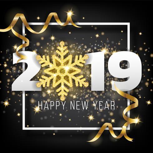2019 Gelukkig Nieuwjaar wenskaart achtergrond. Vector illustratio