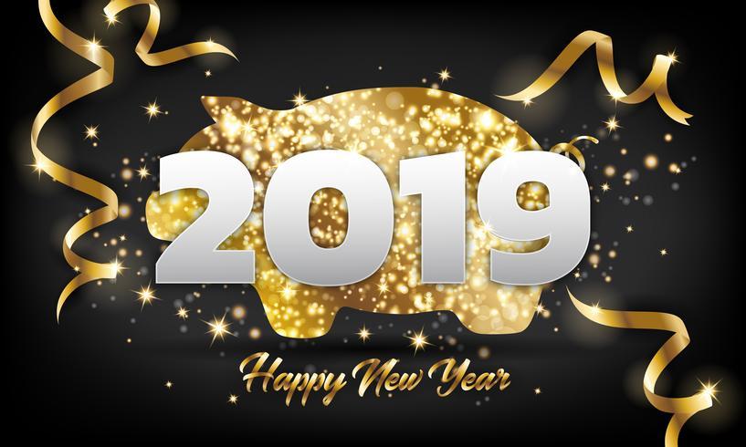 De Chinese Gelukkige Achtergrond van de de Groetkaart van het Nieuwjaar 2019 Gouden Varken vector