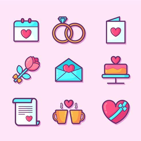 De elementen van de valentijnskaartendag geplaatst vector