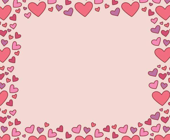 doodled hearted frame vector