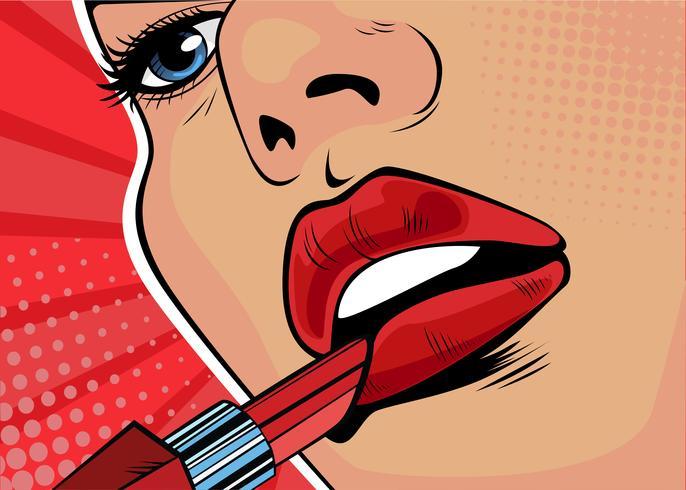 Meisje schildert haar lippen met rode lippenstift. De schoonheid van het gezicht, make-up. Illustratie in pop-art retro komische stijl vector