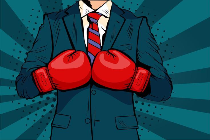 Mens in bokshandschoenen vectorillustratie in grappige pop-artstijl. Zakenman klaar om te vechten en zijn bedrijfsconcept te beschermen. Vechtclub. Boksen en handschoen, boksersterkte. vector