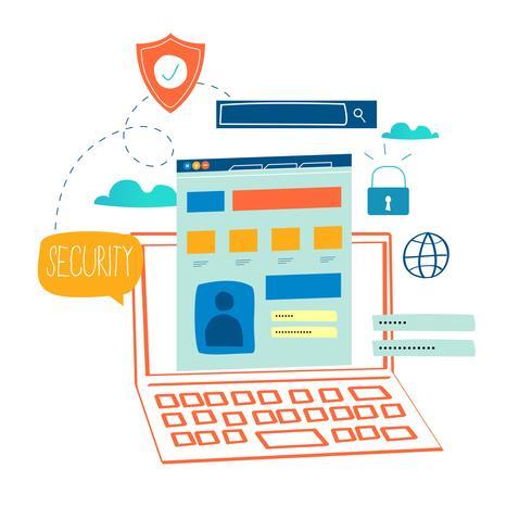 Online beveiliging, gegevensbescherming vector