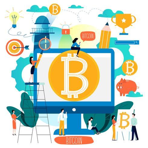 Bitcoin, blockchain-technologie, crypto-uitwisseling vlakke vectorillustratie voor mobiele en webafbeeldingen vector