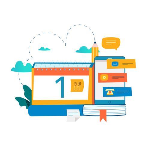 Kalender, planner, planning, memo, tijdlijn concept vector