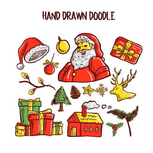 Kerst Doodle kunst Set. Vector illustratie