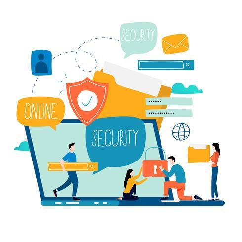 Online beveiliging, gegevensbescherming, internetbeveiliging vector