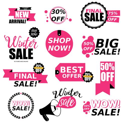 Verkoop stickers collectie vector