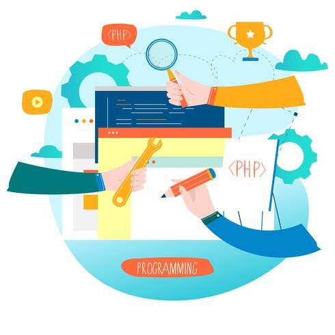 Codering, programmering, website- en applicatie-ontwikkeling vector
