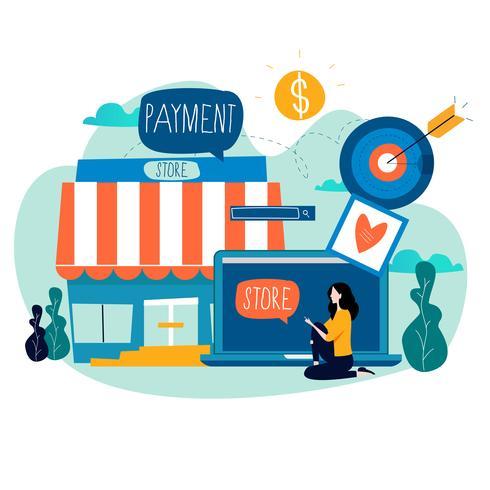 Online winkel, online winkelen vector