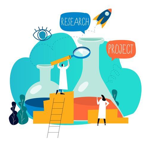 Onderzoek, wetenschappelijk laboratorium, wetenschappelijk experiment, testen, laboratoriumonderzoek platte vector illustratie ontwerp voor mobiel en webafbeeldingen