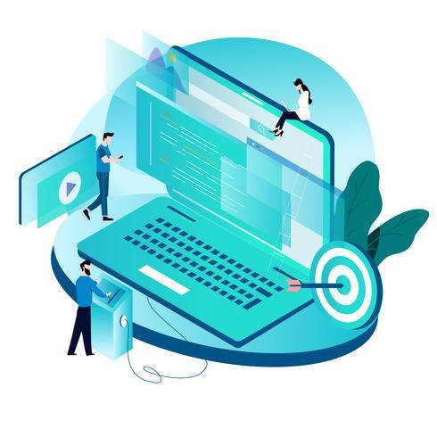 Modern isometrisch concept voor codering, programmering, website- en applicatie-ontwikkeling vector
