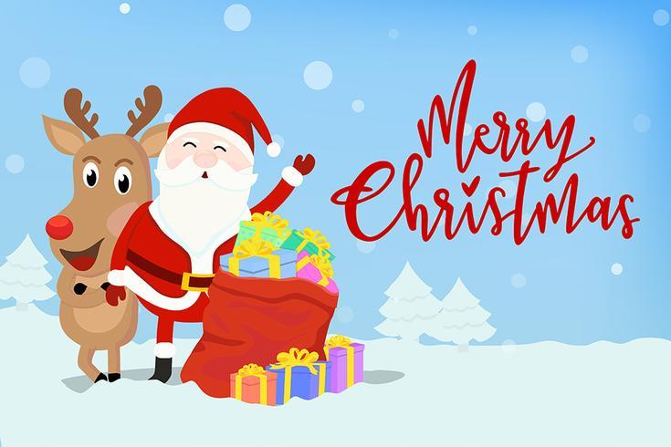 Kerstman met rendieren vector