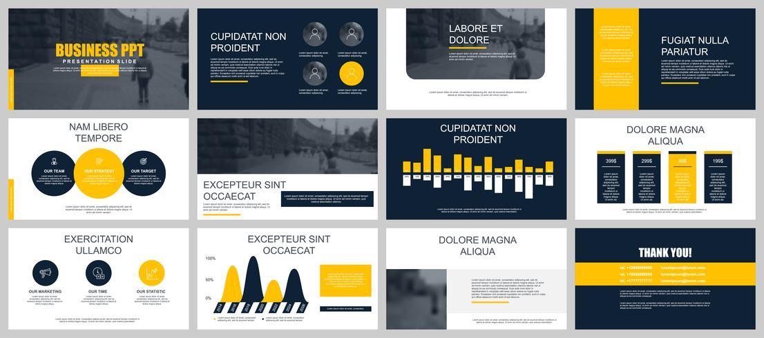 Set zakelijke presentatiedia's vector