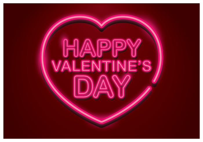 happy valentines day neon vector