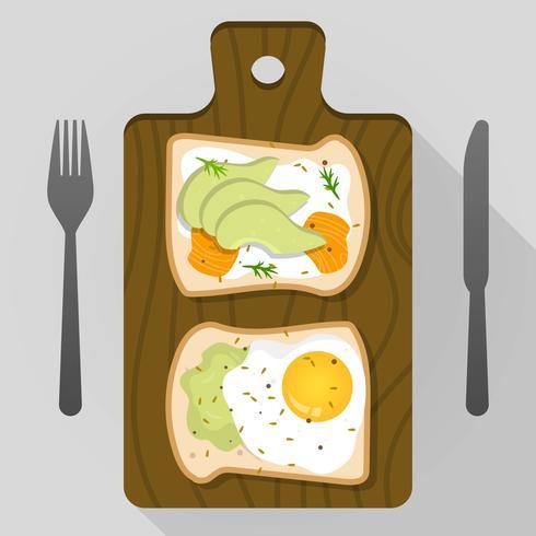 Platte avocado toast voor ontbijt vectorillustratie vector