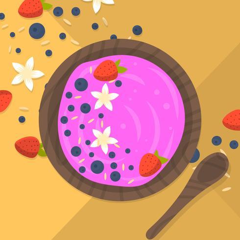 Plat kleurrijke Acai Bowl vector