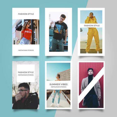 Platte moderne stijlvolle mode Instagram verhalen vector sjabloon