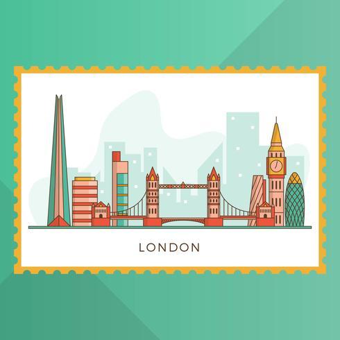 De vlakke Moderne Stad van Londen met Oriëntatiepunt Vectorillustratie vector