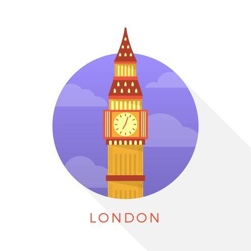 Flat moderne Big Ben Londen landmark vectorillustratie vector
