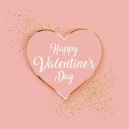 Valentijnsdag achtergrond met hart en goud glitter vector