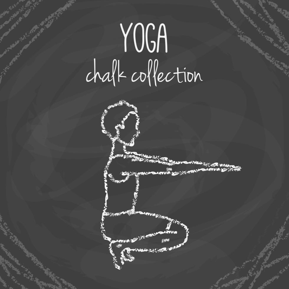 Vector yoga poses. Chalck illustrations on blackboard. International yoga day.