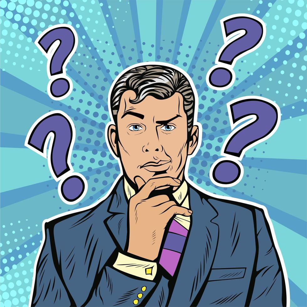 Businessman skeptical facial expression with question marks upon his head vector