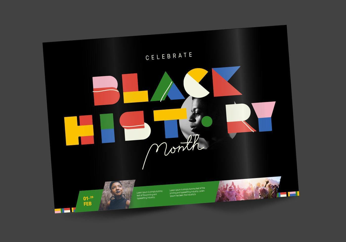 Black History Month Brochure Design Vector
