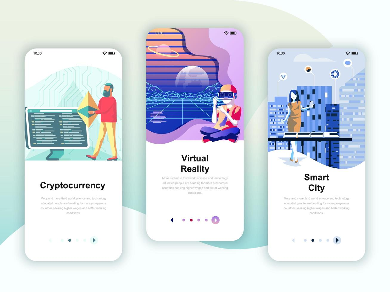 Set of onboarding screens user interface kit for Cryptocurrency vector
