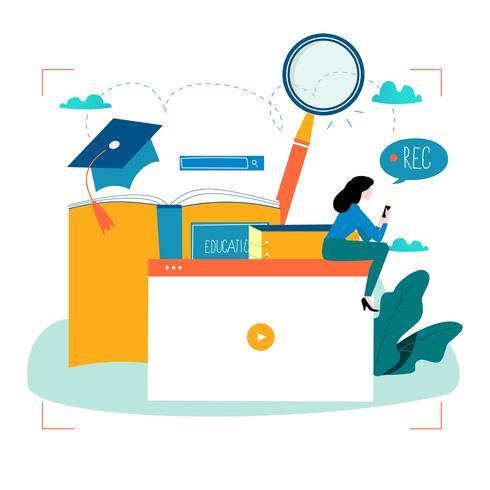 Onderwijs, online trainingscursussen, afstandsonderwijs vector